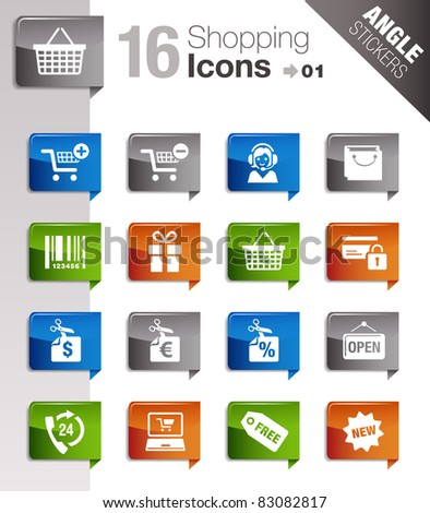Angle Stickers - Shopping Icons - stock vector