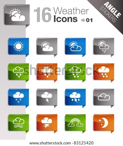 Angle Stickers - Weather icons - stock vector