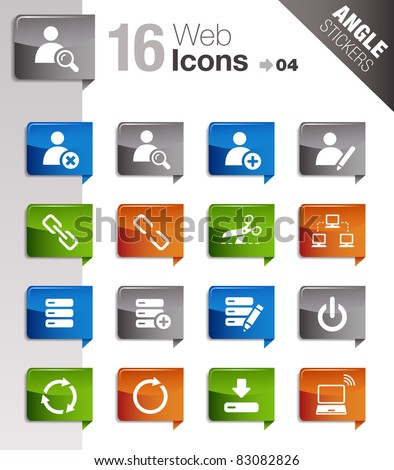 Angle Stickers - Website and Internet Icons - stock vector