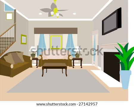 Angled Modern Living room of two story house - stock vector