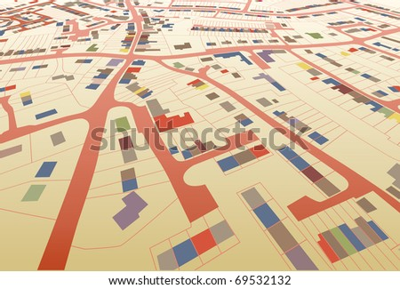 Angled view of a colorful editable vector housing map in a generic town - stock vector