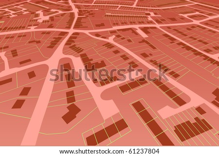 Angled view of an editable vector housing map in a generic town - stock vector