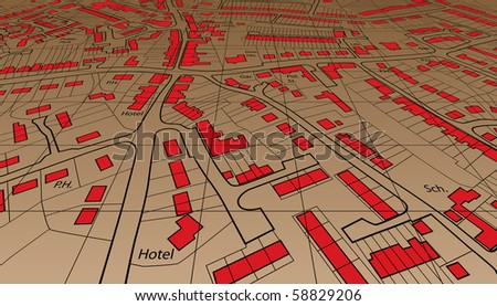 Angled view of an editable vector housing map of a generic town - stock vector