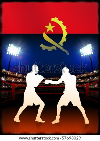 Angola Flag with Boxer on Stadium Background Original Illustration - stock vector