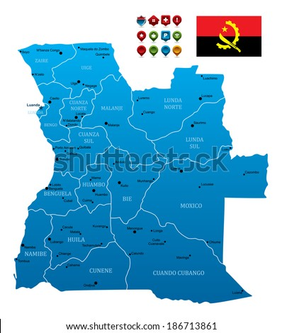 Angola Map with Flag and navigation icons - stock vector