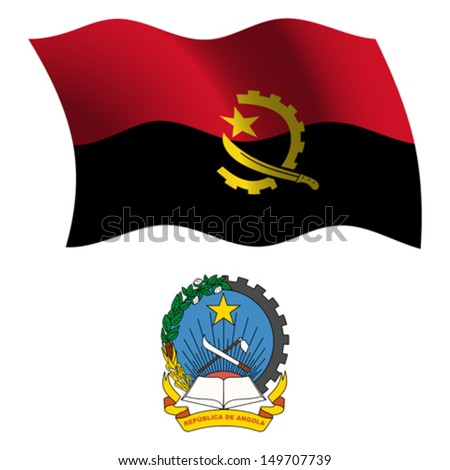 angola wavy flag and coat of arms against white background, vector art illustration, image contains transparency - stock vector