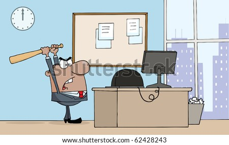 Angry African American Businessman With Bat In Office - stock vector