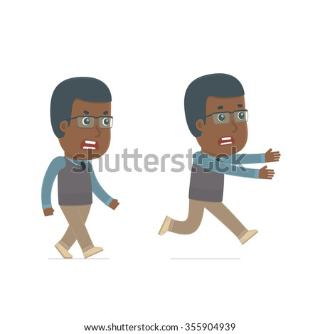 Angry and Frightened Character African American Teacher goes and runs. for use in presentations, etc. - stock vector