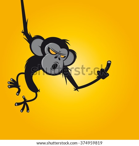 angry ape showing middle finger - stock vector