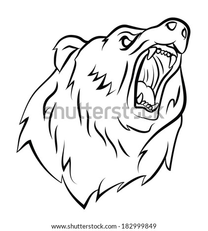 Angry bear head drawing - photo#11
