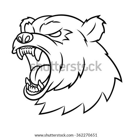 Angry bear head - stock vector