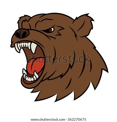 Angry bear head 2 - stock vector