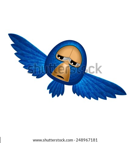 Angry beholder blue bird soars and observe looks down from heaven and maybe give you happiness - vector - stock vector