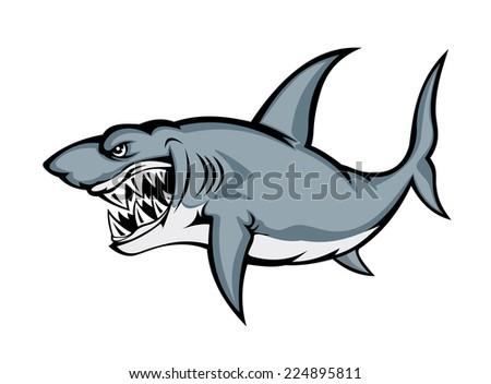 Angry big shark isolated on white background. Vector illustration - stock vector