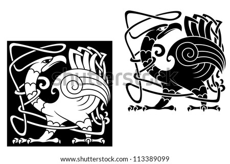 Angry bird in celtic style with ornamental patterns and tracery, such a logo template. Jpeg version also available in gallery - stock vector