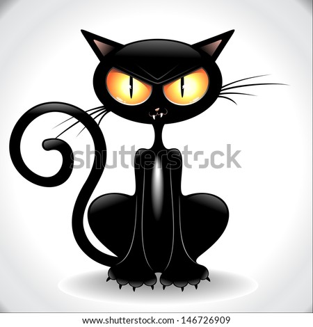 Angry Black Cat Cartoon - stock vector
