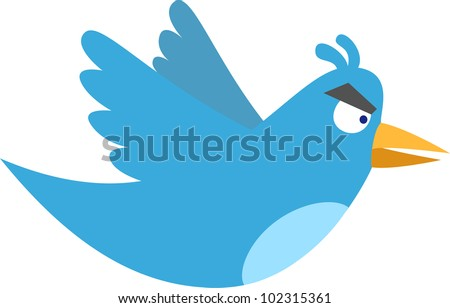 Angry blue bird - stock vector
