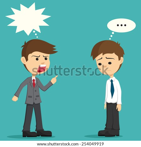 Angry Boss Being Complaining to His Employee - stock vector