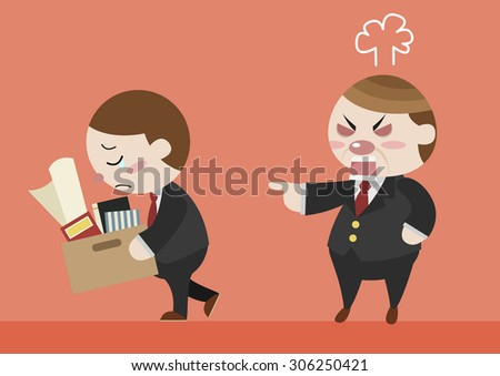angry boss resign employee  - stock vector