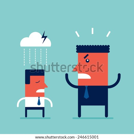 Angry boss screaming at his employee Deadline and work Relationships business concept - stock vector