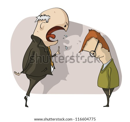 angry boss with employee - stock vector