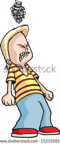 Angry Boy A cartoon boy that is mad at the world. Vector and high resolution files available. - stock vector