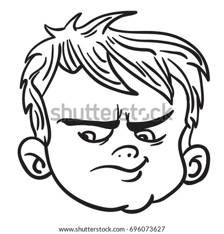 Angry Boy Face Black White Cartoon Stock Vector (Royalty ...