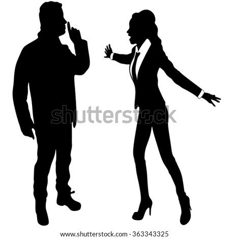 angry business woman or boss screaming at young man who showing silence gesture - stock vector