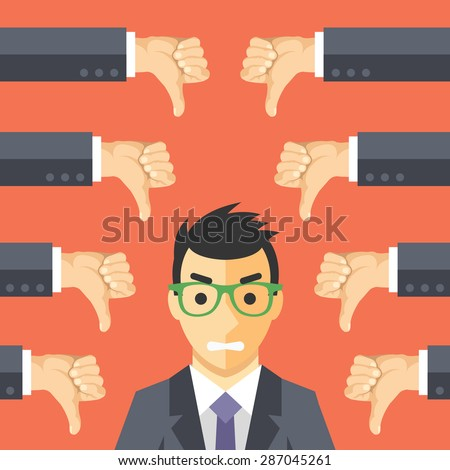 Angry businessman and many hands with thumbs down. Dislikes and negative feedback concept. Creative vector illustration - stock vector