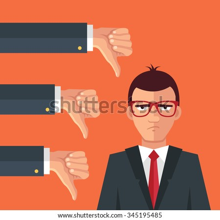 Angry businessman and many hands with thumbs down. Vector flat illustration - stock vector