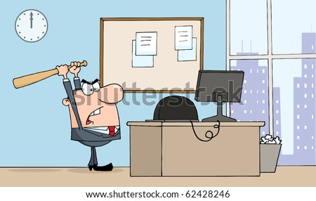 Angry Businessman With Bat In Office - stock vector