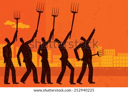 Angry businessmen Angry businessmen protest and raise their pitchforks. The protesters and the background are on separate labeled layers. - stock vector