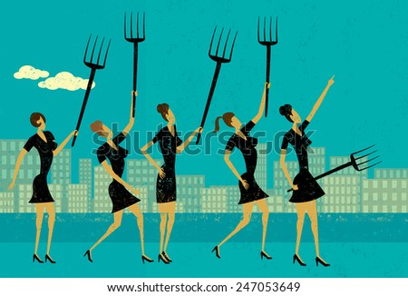 Angry businesswomen Angry businesswomen protest and raise their pitchforks. The protesters and the background are on separate labeled layers. - stock vector