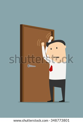 Angry cartoon businessman knocking on a closed door. Concept of opportunity and possibility design - stock vector