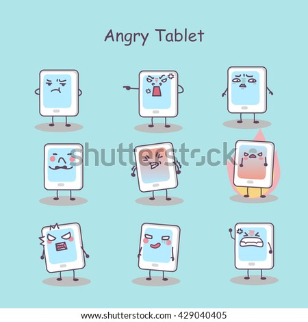 Angry cartoon digital tablet pc set, great for your design - stock vector
