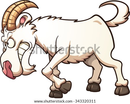 Angry cartoon goat ramming. Vector clip art illustration with simple gradients. All in a single layer. - stock vector