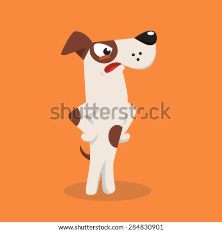 Angry cartoon jack russel dog. Vector illustration - stock vector