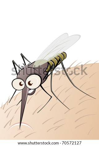 angry cartoon mosquito - stock vector