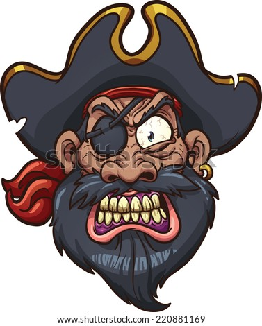 Angry cartoon pirate face. Vector clip art illustration with simple gradients. All in a single layer. - stock vector