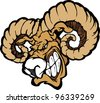 Angry Cartoon Ram Mascot Head with Horns - stock vector