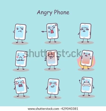 Angry cartoon smart phone set, great for your design - stock vector