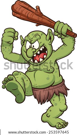 Angry cartoon troll. Vector clip art illustration with simple gradients. Troll's pupils on a separate layer for easy editing.  - stock vector