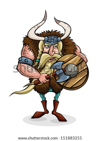 Angry cartoon viking. Medieval warrior with weapons. Character - stock vector