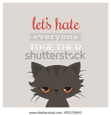 Angry cat cartoon. Cute grumpy cat, vector. Grumpy cat greeting card. - stock vector