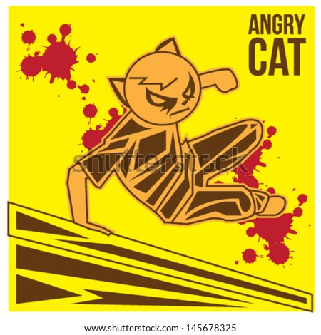 Angry Cat Mask Illustration Vector - stock vector