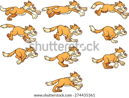 Angry cat run cycle. Ready for animation. Vector clip art illustration with simple gradients. Each frame on a separate layer. - stock vector