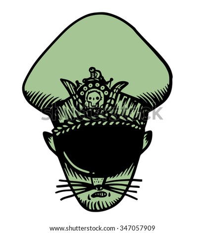 Angry cat with military cap - stock vector