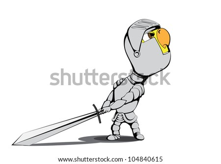 Angry chick knight on white background - stock vector