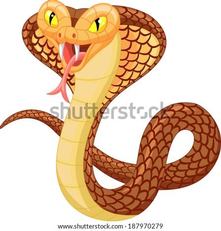 Angry cobra cartoon - stock vector