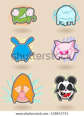 Angry, colorful, funny animals anime. Vector illustration. - stock vector